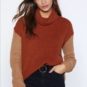 Nasty Gal Contrast Sleeve Roll Neck Jumper